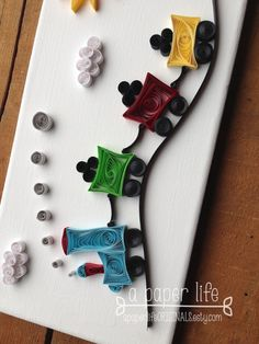 quilled paper train on canvas 'Jimmy CHOO by APaperLifeOriginals