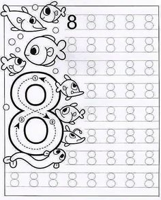 New System-Suitable Numbers Line Study - Preschool Children Akctivitiys Preschool Writing, Numbers Preschool, Kindergarten Math Worksheets, Tracing Worksheets, Math Numbers, Preschool Printables, Worksheets For Kids, Preschool Activities, Pre Writing