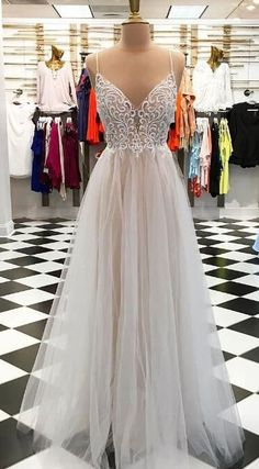 spaghetti straps prom dresses, prom dresses with appliques, organza prom dresses for women