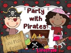 Party with Pirates Literacy and Math Centers for Kinder  $