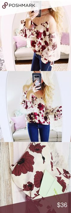 Floral Blouse This blouse is so gorgeous and perfect for Spring.  Never worn. It has  dainty lace details on the chest and neck area and gorgeous lettuce lace sleeves. Runs true to size. This is a leftover item from my online boutique. Modern Mermaid Style Tops Blouses