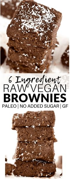 These drool-worthy No-Bake Raw Vegan Brownies are sinfully delicious, yet packed with superfood nutrition! They're super easy to make and come together in a snap - only 6 ingredients! They are also gluten-free, paleo, oil-free, and sugar-free. Raw Vegan Brownies, Raw Vegan Desserts, Vegan Dessert Recipes, Raw Food Recipes, Vegan Food, Freezer Recipes, Freezer Cooking, Vegan Sweets, Drink Recipes