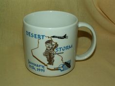 DESERT STORM MUG HEAT ACTIVATED DESERT SHIELD JAN 1991 AUG 1990 BAGHDAD KUWAIT