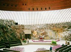 Temppeliaukio Church (Rock Church) in Helsinki, Finland Helsinki, Places To See, Places Ive Been, World Geography, Interesting Buildings, Chapelle, Christian Life, Fun Activities, Architecture