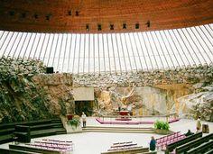 Церковь в скале в Хельсинки/Helsinki Финляндия — лютеранская церковь Темппелиаукио/Temppeliaukio