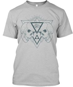 Skull And Eye Style. Limited Offer ! Light Heather Grey  T-Shirt Front