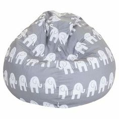"""Beanbag chair in gray with an elephant motif and eco-friendly fill. Made in the USA.   Product: BeanbagConstruction Material: Polyester-cotton twill cover and recycled polystyrene fillColor: Gray and white  Features:  Zippered slipcoverEco-friendlyMade in the USA Dimensions: 22"""" H x 28"""" DiameterCleaning and Care: Slipcover can be washed in cold water and with a mild detergent. Hang dry."""