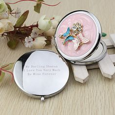 personnalisé de conception de Butterly chrome faveur de miroir compact – USD $ 5.73