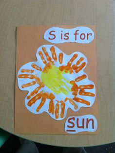 S is for sun handprint pic