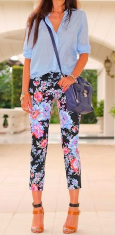 floral jeans with sheer sky blue shirt