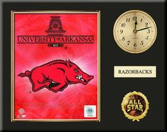 """One 8 x 10 inch University of Arkansas photo of University Of Arkansas Team Logo inserted in a gold slide-in frame and mounted on a 12 x 15 inch solid black finish plaque.  Also features a 3-inch Arabian gold-faced clock, a customizable nameplate* and a 2-inch """"ALL STAR"""" insert with a gold base.  $59.99 @ ArtandMore.com"""