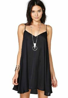 Black Spaghetti Strap Loose Chiffon Dress -- this would be awesome with a bright blazer or denim vest