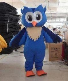 Professional New Style Big Blue Owl Mascot Cartoon Costume Fancy Adult Size