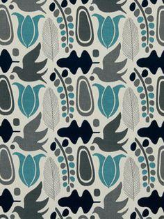 Modern Bird Fabric Aqua Gray Navy Contemporary Fabric by the Yard on Etsy, $115.00
