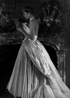 """1949 - Christian Dior """"St. Cloud"""" Evening Gown with White Satin and Swiss Muslin,"""