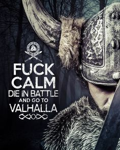 F*CK Calm die in Battle and go to Valhalla Viking Warrior triple horn of Odin T-shirt tee Shirt TV show inspired Mens Ladies MLG---omg I have to get this for my dad! Ancient Vikings, Norse Vikings, Wallpaper Vikings, Viking Wallpaper, Arte Viking, Valhalla Viking, Viking Quotes, Viking Sayings, Viking Life