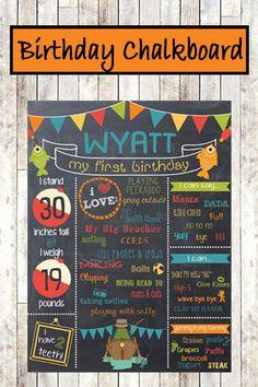 Big One Fishing Birthday Chalkboard Poster - Customizable and printable #ad
