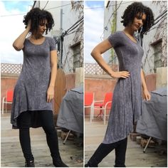 Hi/Lo washed-denim-look dress Sz. Small Great on its own, with a Moto jacket, with flip flops in summer, or layered with a cardi in winter. So versatile! Worn twice but as always with rayon, it pills easily as in last pic. But the pattern of the fabric disguises it well. Color is a bluish gray. You really can't go wrong with this awesome dress! Ritual Dresses High Low