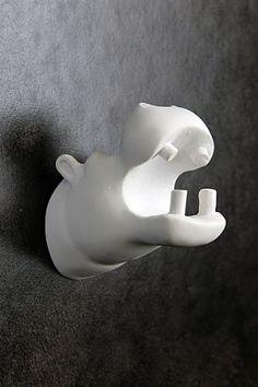 Zoo Dear Animals Coat Hook - White Hippo