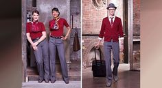 Air Canada Rouge flight attendants are total hipsters Air Canada Rouge, Airline Uniforms, Virgin Atlantic, Best Flights, Prabal Gurung, Flight Attendant, Vivienne Westwood, Good News, Travel Inspiration