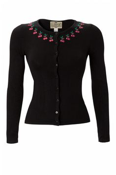 Collectif Clothing - 50s Jo cardigan Tiny Cherry Black