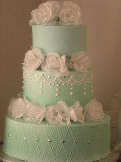 Mint Green Wedding Cake, with mint chocolate chip ice cream. One of the many things we have in common that we love.