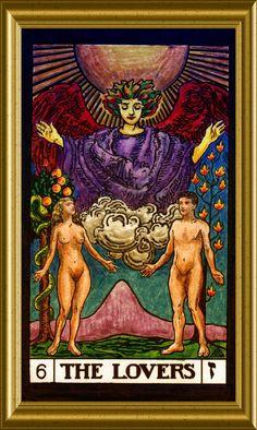 The Lovers, Card #6. Angel Prayers, Tarot Major Arcana, Fortune Teller, Tarot Spreads, Oracle Cards, Tarot Decks, Archetypes, Tarot Cards, Witchcraft