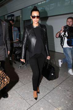 Kim Kardashian in all black: Hermes Birkin and Louboutin's