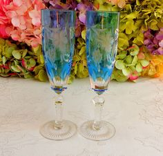 2 Nachtmann Crystal Cut to Clear Champagne Glasses Traube Aquamarine ~ Signed #Nachtmann
