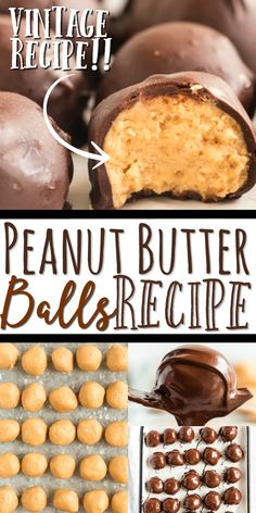 These rich, buttery, and creamy old-fashioned peanut butter balls are a classic family treat straight from grandma's recipe box. Our peanut butter balls recipe is totally no-bake, making it an easy and sweet homemade candy that is perfect to make quickly. Healthy Peanut Butter, Peanut Butter Recipes, Chocolate Peanut Butter, Peanut Butter Candy Cake Recipe, No Butter Baking Recipe, Chocolate Fudge, Easy Peanut Butter Balls, Peanut Butter Truffles, Chocolate Candy Recipes