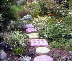 No, they're not cushions, though they certainly look like it. These are concrete paving or decorating stones. And because they're concrete, they can stay outdoors year-round. Although you can buy a…