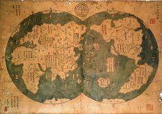 《天下全輿總圖》, 1763 reproduction of Zheng He's map《天下諸番識貢圖》of 1418.