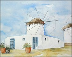 """""""Windmühlen auf Mykonos""""  - Aquarell - 24 x 32 cm - Watercolor / Painting / Original /// Prices from € 15 (Ebay auction) /// Postage and packing € 3 (Global shipping)"""