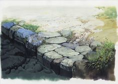 Art by 男鹿 和雄 Kazuo Oga* - Background Art Landscape Illustration, Landscape Art, Landscape Paintings, Illustration Art, Art Studio Ghibli, Aesthetic Japan, Surrealism Painting, Animation Background, Traditional Paintings