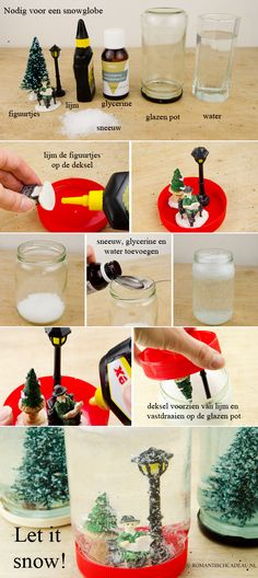 Snowglobe / sneeuwbol. Stap voor stap je eigen snowglobe maken. Christmas Activities, Christmas Projects, Holiday Crafts, Holiday Ideas, Recycled Christmas Decorations, Xmas Decorations, Christmas Events, Christmas Holidays, Christmas Mason Jars