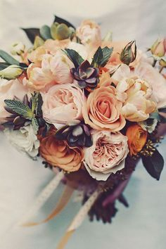 autumn wedding flowers with small succulents