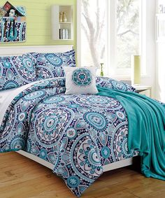Beautiful Loving This Blue Emblem Four Piece Twin XL Comforter Set On #zulily! # Part 6