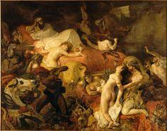 Mort de Sardanapale by Eugène Delacroix La Muerte de Sardanápalo, de Delacroix, h. 1827, Museo del Louvre. Cuadro que ejemplifica el gusto romántico por lo exótico, la unión de erotismo y muerte y la influencia de autores barrocos como Rubens; logra una escena tumultuosa en la que domina el color sobre el dibujo