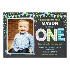 Boy First Birthday Chalkboard Invitation