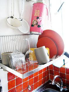 over the sink wall mount dish drainer