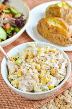 all time favourite - Low Sin Tuna and Sweetcorn Mayo Salad. Perfect with a baked potatoes or some salad.An all time favourite - Low Sin Tuna and Sweetcorn Mayo Salad. Perfect with a baked potatoes or some salad. Chicken And Sweetcorn Soup, Slimming World Lunch Ideas, Slimming World Recipes Syn Free, Healthy Tuna, Healthy Salmon Recipes, Healthy Food, Healthy Eating, Tuna Recipes, Health