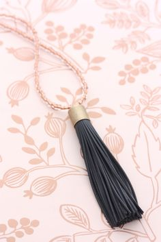 Leather Tassel Necklace - Rose Gold & Charcoal