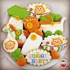 Green & Orange Baby Owl Cookies