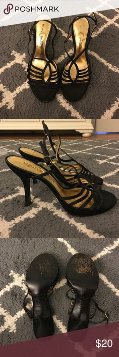 Michael Shannon black formal sandals Michael Shannon brand, size 9, worn 3 times, 3 inch heel, color- black with black rhinestone detail michael shannon Shoes Sandals
