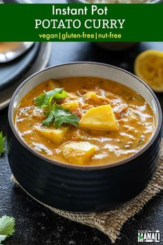 Vegan Potato Curry made in the Instant Pot. This curry is easy to make and packed with flavors. It makes a great lunch or dinner! It's also gluten-free, dairy free & nut-free. #instantpotpotatocurryrecipe #instantpot #vegan