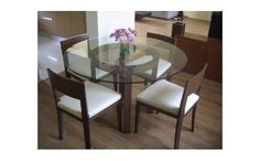 Dining Area with Round Glass Table Design by Shahen Mistry, Interior Designer in Mumbai, Maharashtra, India