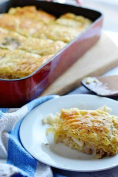 Cabbage Pie is an easy, inexpensive dish with a puff-pastry top.