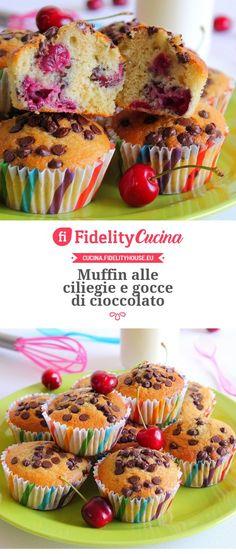Muffin alle ciliegie e gocce di cioccolato