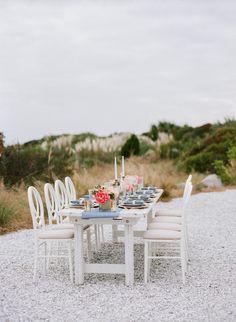 Coastal Romantic Wedding Reception Table Setting - The Celebration Society | Venue - Seaside Point, Wild Dunes Resort, Charleston, South Carolina #WildDunesWeddings | Photography – Lauren Jonas www.laurenjonas.com | Planning & Design – Lemiga Events www.lemiga.com