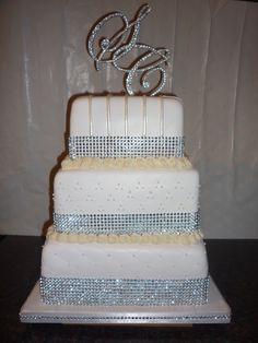 White Diamonds And Pearls Wedding Cake
